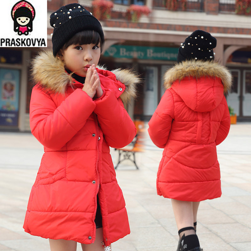 New Hot  Brand Casual Children Parka Girls Winter Coat Long Duck Down Thick Faux Fur Hooded Winter Jacket For Girls CCC386W