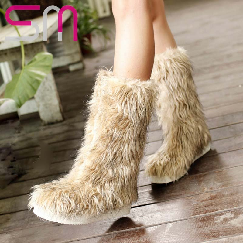 Brand Artificial Fur Upper Snow Boots Warm Winter Boots Women's Shoes Cool Fur Shoes Zapatos Mujer Flat Sole Snow Shoes Woman