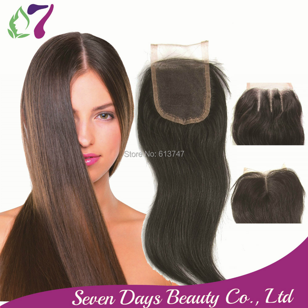 8A Free Shipping Brazilian Virgin 100% Human Hair Closures Straight Lace Closure Top 4*4 Middle 3 Way Free Part Bleached Knots 7(China (Mainland))