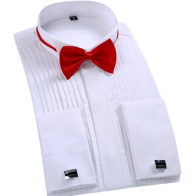 2016 Top Fashion Men Dress Shirt Brand Wedding Long Sleeve Formal Shirt Bow Tie Plus Size Men Cufflink Black Tuxedo Shirts