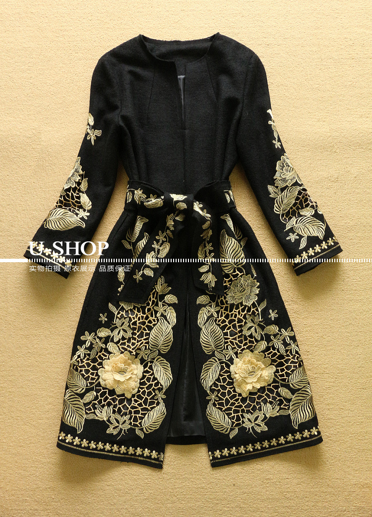 2014 Runway Autumn Winter Women Gold Thread Flower Embroidery Long Woolen Coat Trench Belt Plus Size - Fashion_ComeToYou store