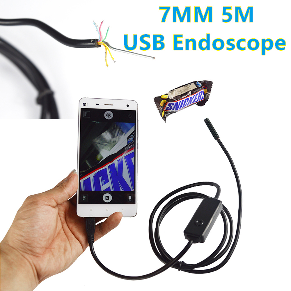 7mm Lens1M 2M 3M 5M Android USB Endoscope Camera Flexible Cable Snake Tube Inspection OTG USB Borescope Pinhole Camera(China (Mainland))