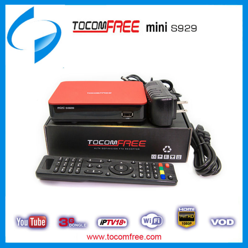 NEW TOCOMFREE MINI S929 HD IPTV PVR TWIN 3G FTA SATELLITE RECEIVER HDMI IKS SKS WIFI For South America(China (Mainland))