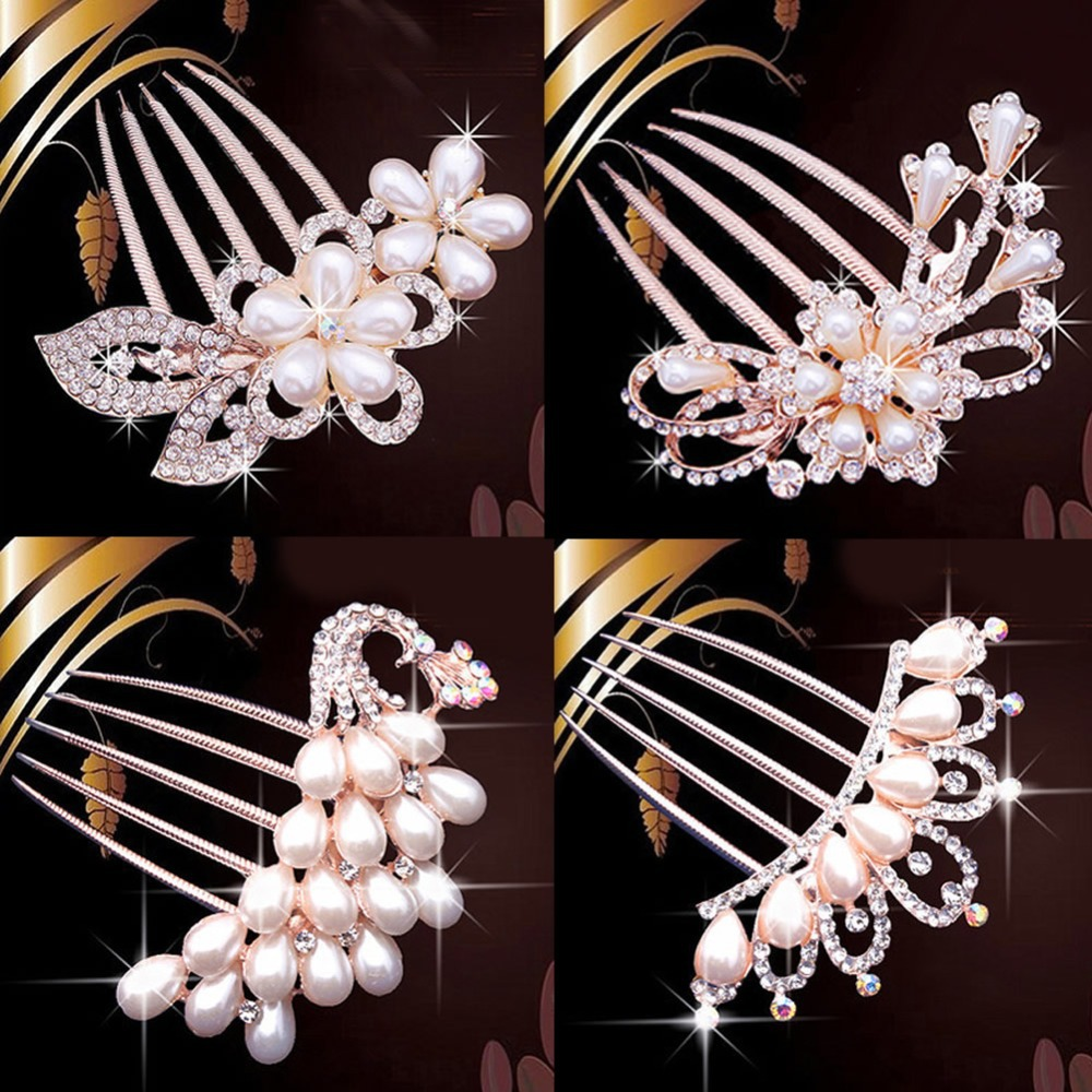 Fashion Wedding Bridal Crystal Rhinestone Flower Faux Pearls Hairpin Diamante Hair Clip Comb(China (Mainland))