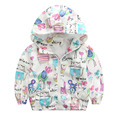 2016 Cute Baby Girls Jackets Cartoon Graffiti Print Bomber Jacket Girls Coat 2 6Y Children s