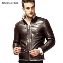 2014 fur one piece male sheepskin fur jacket motorcycle outerwear genuine leather clothing