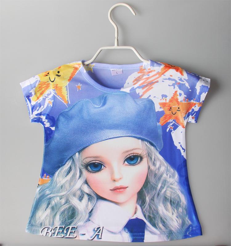 2015 girl's t shirts t girls kid's girl's shirt children top tee 3D printing shirt child cartoon printing t shirts for 2-6yrs(China (Mainland))