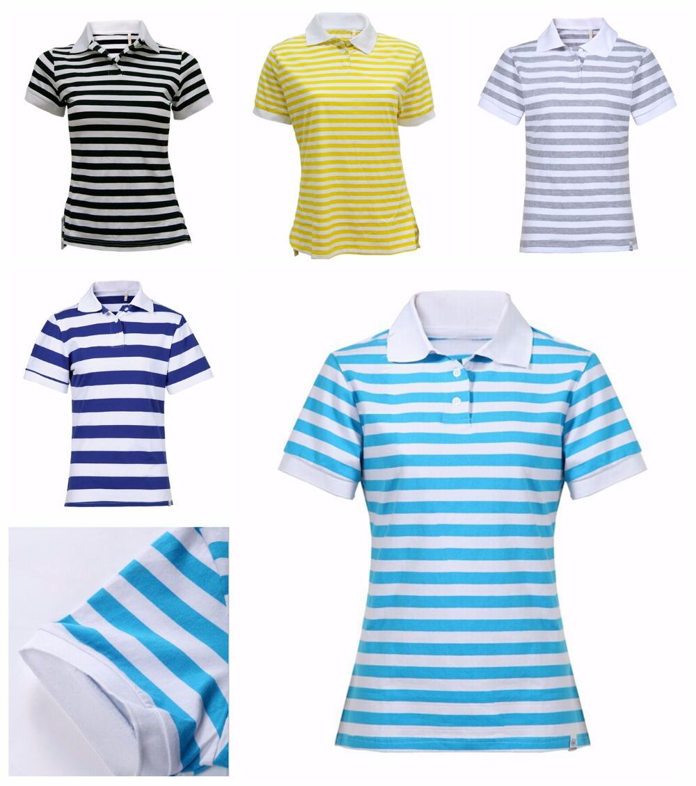 2015 Summer Fashion Women Polo Shirt 100% Cotton Ladies Casual Short Sleeve Polo Stripe Shirts Tops Tees Slim Fit Euro Size M-XL(China (Mainland))