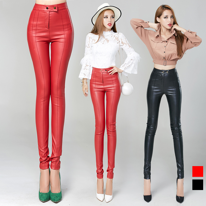 pu leather trousers 2015 2 buckles tight hip