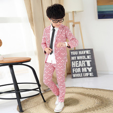 Kids New Sale Minnie Mouse 2016 Fashion Children Boys Blazers Striped Cotton Turn-down Collar Full Single Breasted Leisure Suit