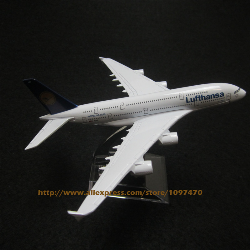 16cm Alloy Metal Plane Model German Air Lufthansa Airways Airbus 380 A380 Airlines Airplane Model w Stand Aircraft Toy Gift(China (Mainland))