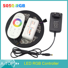 1Pack 5m 300Leds 5050 Waterproof RGB Led Strip LED Tape Ribbon + 1Pcs Touch Controller + 1Pcs 12V 3A Power Adapter(China (Mainland))