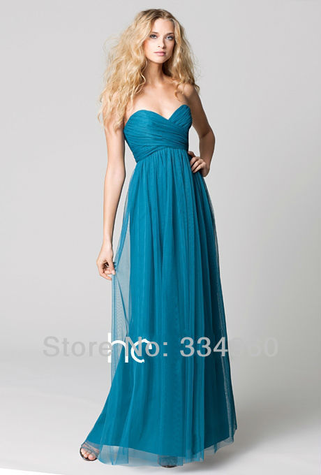 Peacock Flirt Floor Length Long Bridesmaid Gowns Sweetheart Empire Dress Prom Party New 2013 - LVOE Shopping store
