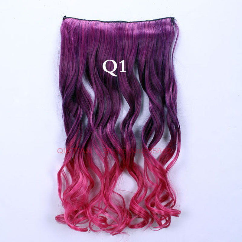 5Clips Gradient Ramp Color Clip In Hair Extensions Synthetic Hairpieces Slice Curl Wavy 24 60cm Q1 Dark Violet Ombre Rose Red<br><br>Aliexpress