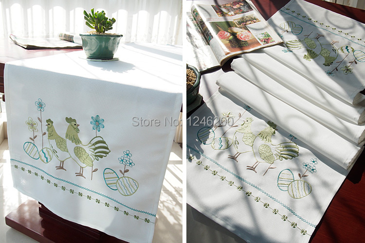 hot sale embroidered wedding table runner with cock easter floral table runner cation fabric 40X140CM party home decoration(China (Mainland))