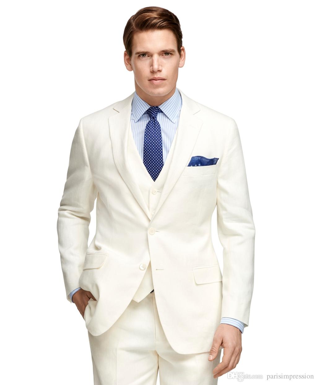 Cream Wedding Suits For Men Men Wedding Suit Tuxedo Tie