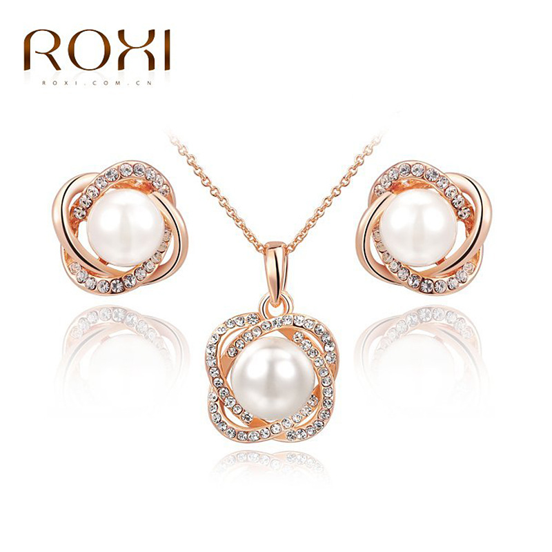 ROXI Rose Gold Plated Elegant Imitation Pearl Jewelry Set Women Wedding Fashion Inlaid Crystal Earrings Necklaces sets - OBABY JEWELRY store