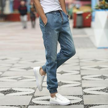 New Brand Mens Biker Jeans Quality 2016 New Arrival Jeans Men Fashion Slim Fit Drawstring Denim Jogging Pants Men