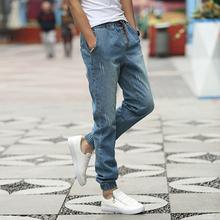 New Brand Mens Biker Jeans Quality 2016 New Arrival Jeans Men Fashion Slim Fit Drawstring Denim Jogging Pants Men(China (Mainland))