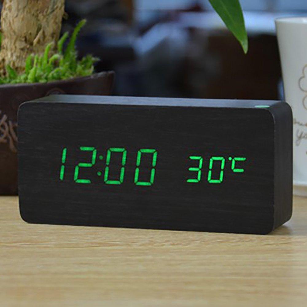 2015 New AJ6035 LED Wooden Alarm Clock Digital Despertador Time Temperature Week Calendar Display for Home Office Free shipping(China (Mainland))