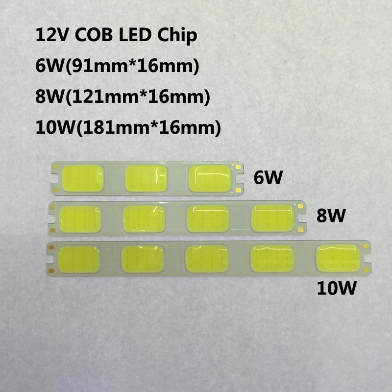 Hot sales 6W 8W 10W DC 12V led cob lamp beads high quality led cob lamp bar source with Epistar chip Car day light 2pcs/lot(China (Mainland))