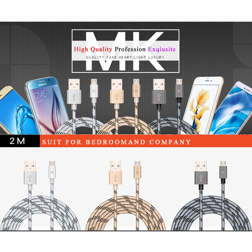 MK for Android Micro USB Mobile Phone Cable Data Cable Charge Cable Fast Charge Cable 2.4A 2M For Samsung Xiaomi Android