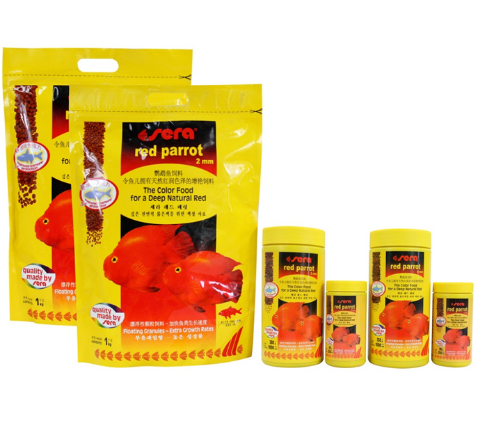 Red parrot fish food granules 2mm 4mm float on water Sera(China (Mainland))