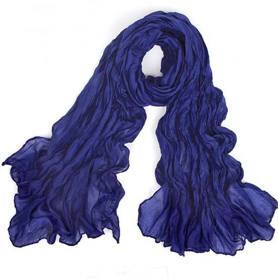 Lady Girls Dark Blue Wrinkle Wave Soft Scarf Wrap Shawl Stole Length 180cm BLA22(China (Mainland))