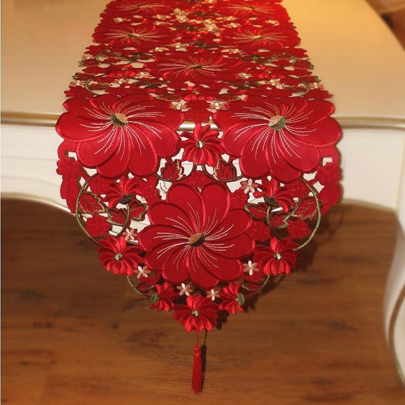 European Wedding Table Runner 3D Red Floral Embroidered Polyester table runners For Home Banquet 40*185cm(China (Mainland))