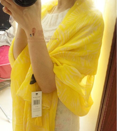 Оригинальный одного яркие желтые листья бахромой хлопок твист шарфы весна негабаритных платок женский солнцезащитный крем прилив
