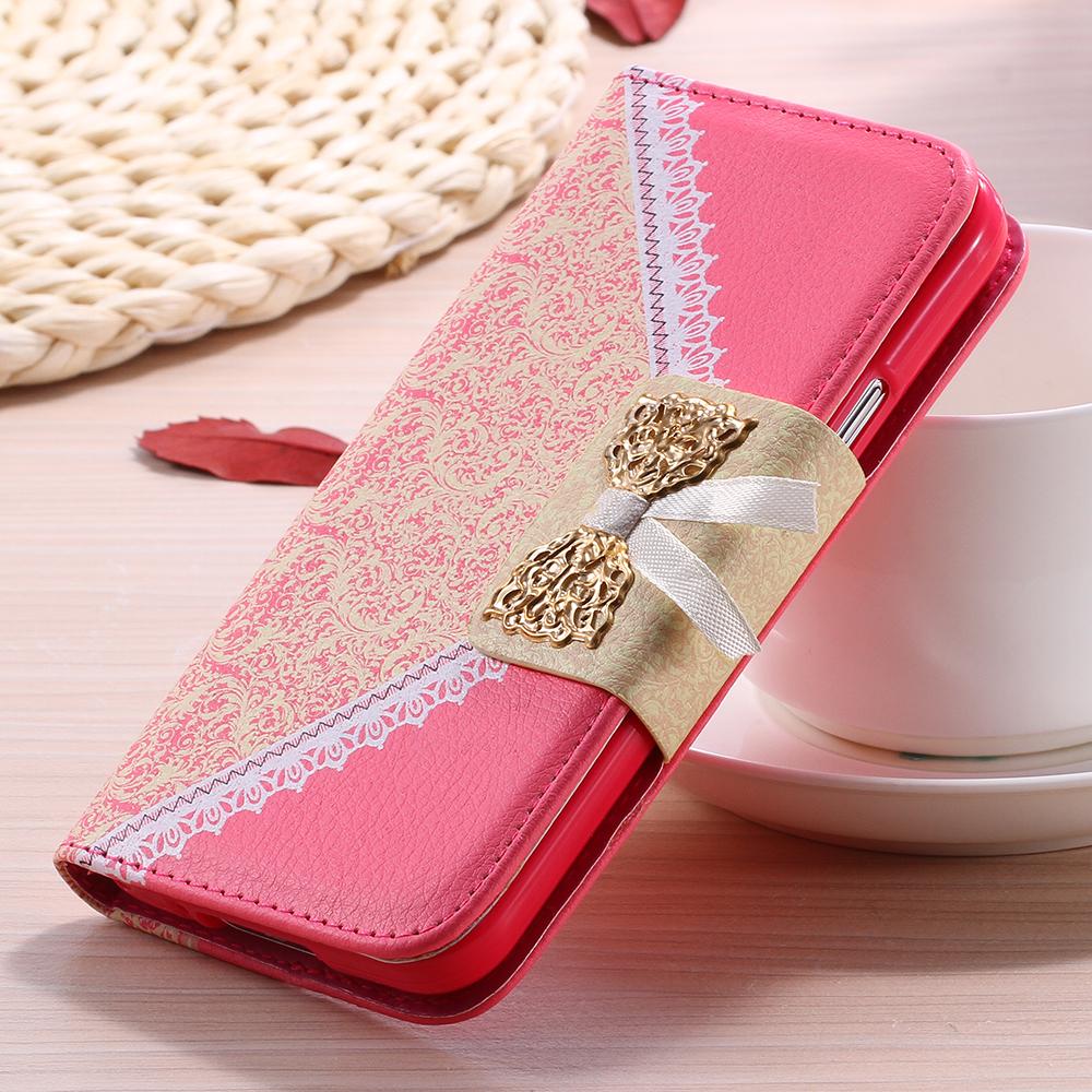 Гаджет  S5 Case Fashion Girl Metal Chain Wallet Flip Leather Case For Samsung Galaxy S5 I9600 SV Cute Lace Bow Cell Phone Cover 1pcs/lot None Телефоны и Телекоммуникации