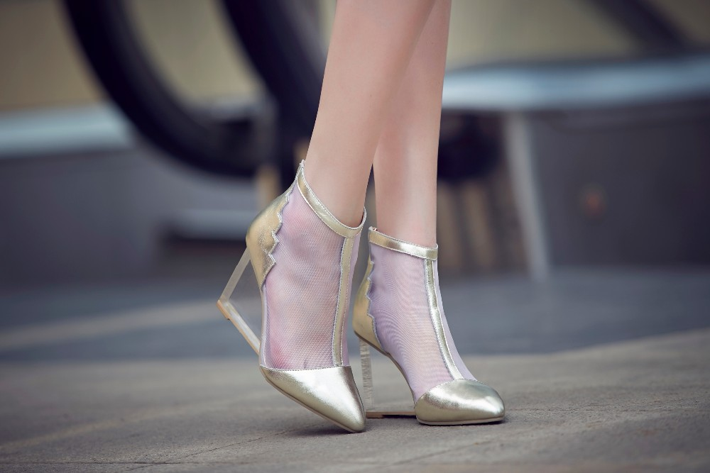 2015 New Sexy Cow Genuine Leahter Gold Sliver Women Wedding Shoes