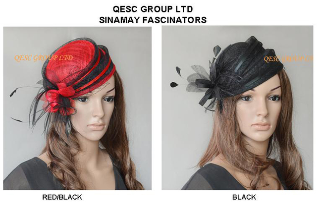 Sinamay bridal fascinator mini hat with feathers for formal ocassion kentucky derby.2pcs/lot.can pick the colors.