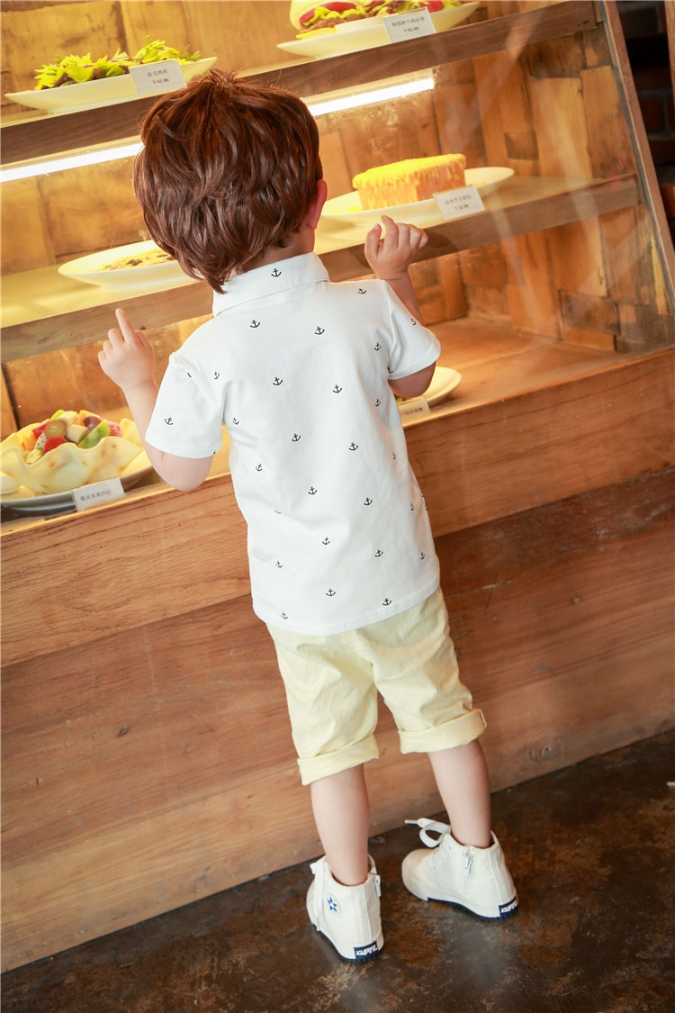 Children Clothing 2016 Summer Cotton Baby Boy Tshirt Short Sleeve Fashion Anchor Pattern Kids Shirts Top Baby Blouse 2-5 Years
