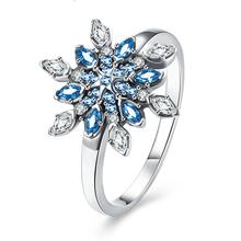 Евро Роскошный Blue Crystal женская Мода Свадебные Украшения 925 Серебро Snowflower Палец Кольцо(China (Mainland))