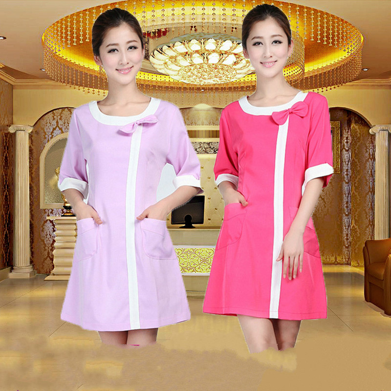 Medical Uniforms Nursing Scrubs Clothes for Beauty Shop Short Sleeve Doctor Clothing Uniformes Hospital Women Work Dress(China (Mainland))