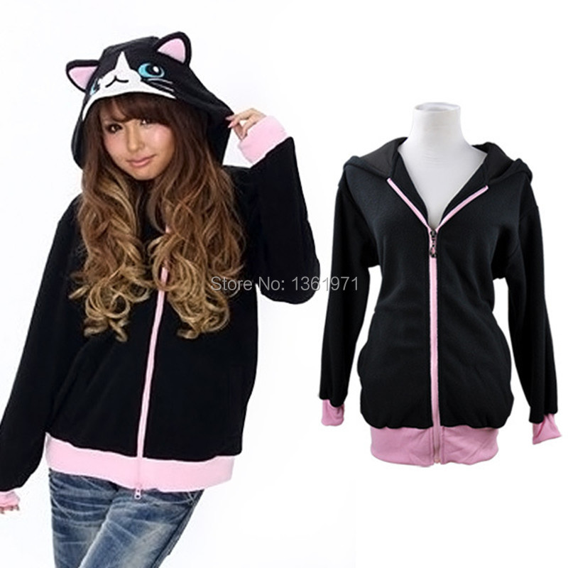 Autumn Winter Anime Animal Cartoon Women Men's Black Cat ...