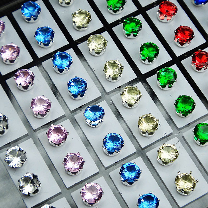 7Mix Color Cubic Zirconia Stainless Steel Fashion Stud Earrings Womens Mens Jewelry Lots A-481 - Edna store