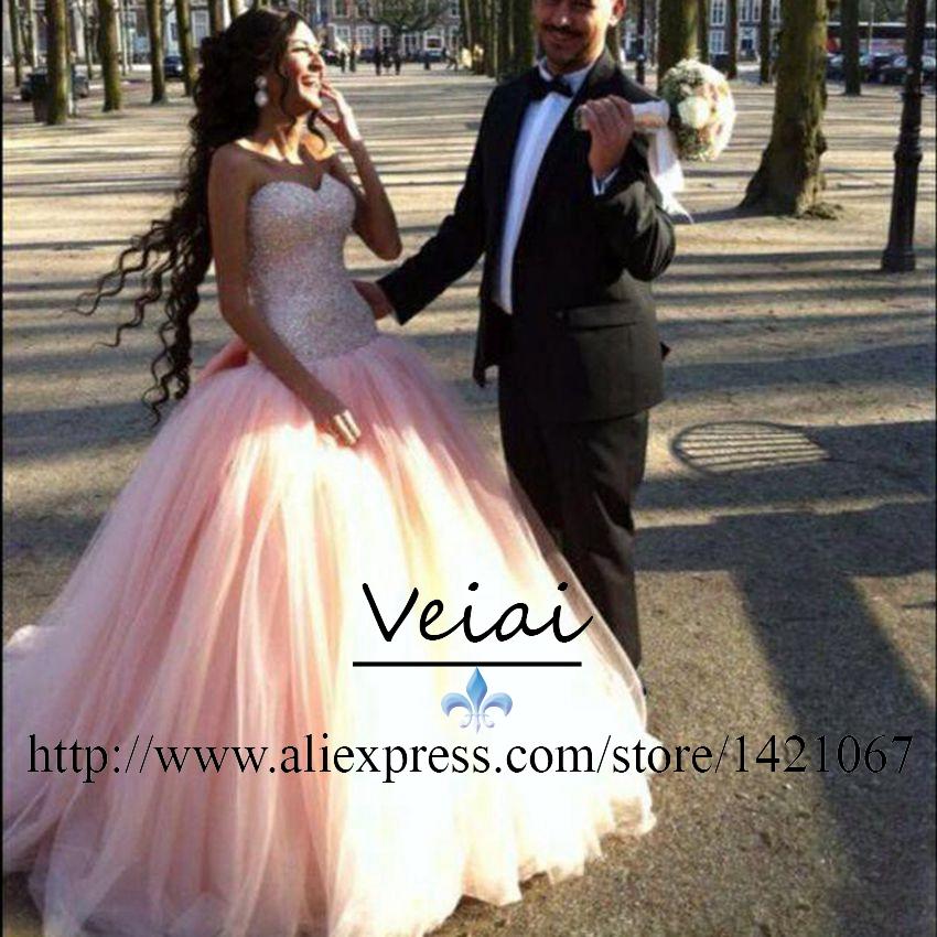 Персик свадебные платья 2016 с бальное платье vestido noiva роскошные кристалл халат мантия-де-mariage большой Discout vestido novia Wq12171
