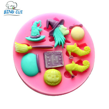 Q048 Witch & Hat & Broom & Book & Pumpkin & Shoes Shape Molds For Chocolate Fondant Soap Forms Cake Tools