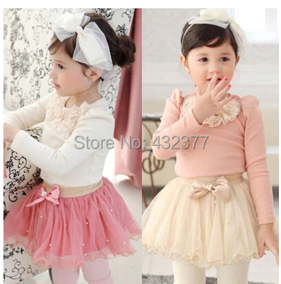 girl's fashion spring autumn suit 2~7 age brand girls lace tutu dress toddler kids clothing sets(China (Mainland))