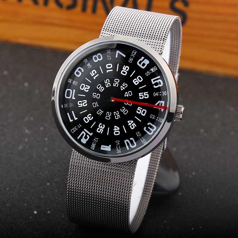 Paidu Fashion Unique Brand Black/Silver Quartz Metal Mesh Band Wrist Watch Mens Boy Turntable Dial Digital Gift Wristwatches(China (Mainland))