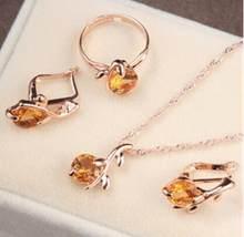 Erstaunliche Preis schmuck sets afrikanischen braut gold farbe halskette ohrringe Ring hochzeit kristall sieraden frauen mode schmuck set(China)
