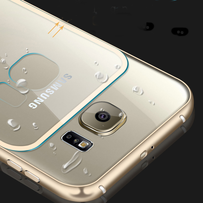 S6/S6 Edge Luxury Dual Hybrid Metal Aluminum Frame +Clear Acrylic Back Case For Samsung Galaxy S6/ S6 Edge G925 Ultra Thin Cover(China (Mainland))