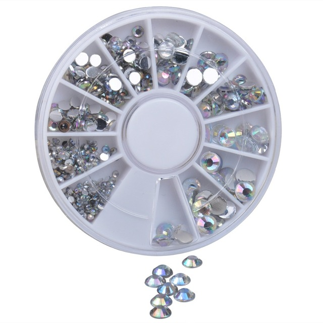 Nail Decoration Rhinestone 5 Sizes Silver Multicolor Acrylic Nail Art Decoration Glitter Nail Rhinestones Nail Tools