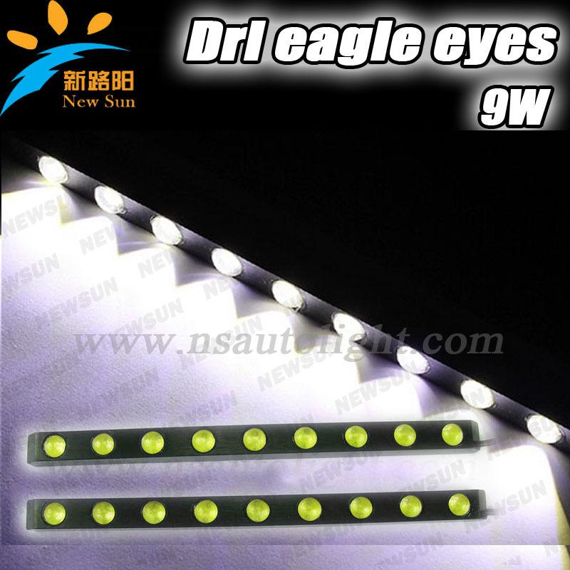 2PCS/set 8000K White 12V 9W Eagle Eye LED Car Day time Light Daytime Running Light IP67 Reverse Lamp Stop Parking Tail Light(China (Mainland))
