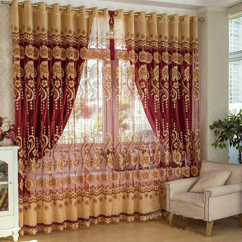 Curtains For Living Room Tulle/Sheer +Blackout Luxury Curtains ...