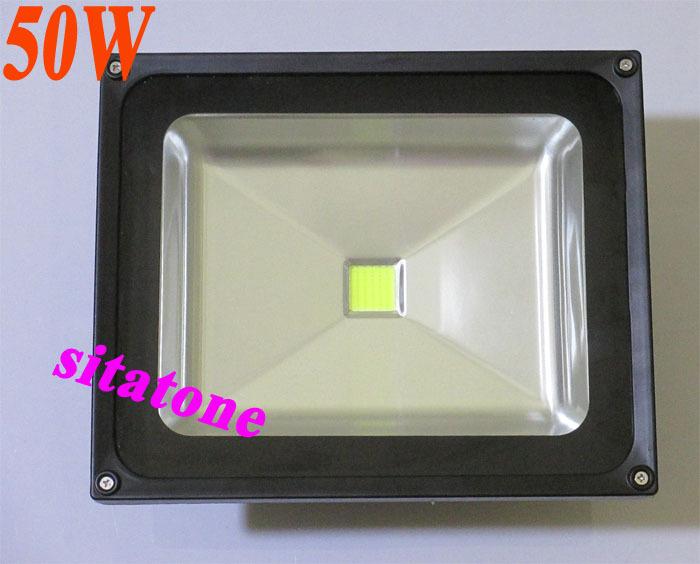 wholesale 2 year warranty free shipping AC85-265V black LED flood light USA Bridgelux 45mil 130lm/W chips PFC>0.9 driver 1*50w(China (Mainland))