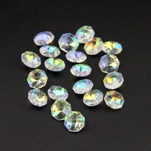 100pcs/lot AB 14mm Crystal Octagon Bead For Chandelier Prism Parts 2 holes Crystal Glass Chandelier Parts Crystal Hanging Drop(China (Mainland))