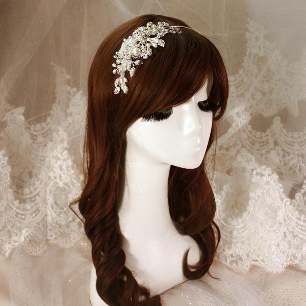 New style luxury crystal pearl rhinestone leaf shape bridal hairband wedding hair accessory fashion womens hair decoration<br><br>Aliexpress